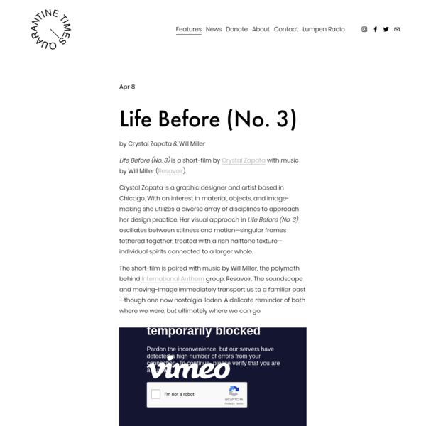 Life Before (No. 3) - The Quarantine Times