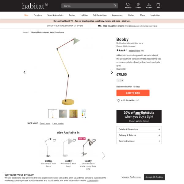 BOBBY Multi-coloured metal floor lamp