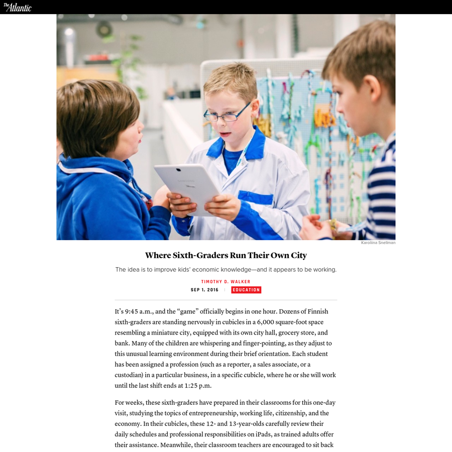 The idea is to improve kids' economic knowledge-and it appears to be working. For us to continue writing great stories, we need to display ads. Please select the extension that is blocking ads. Please follow the steps below Tim Walker is a contributing writer for The Atlantic and an American teacher based in Finland.