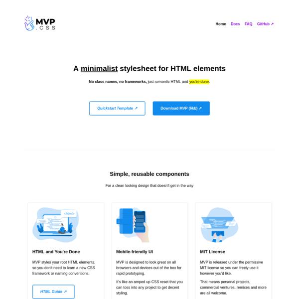 MVP.css - Minimalist stylesheet for HTML elements