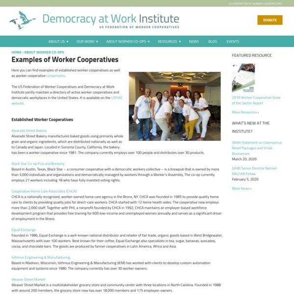 Examples of Worker Cooperatives