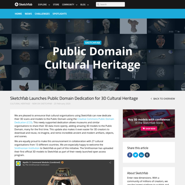 Sketchfab Launches Public Domain Dedication for 3D Cultural Heritage