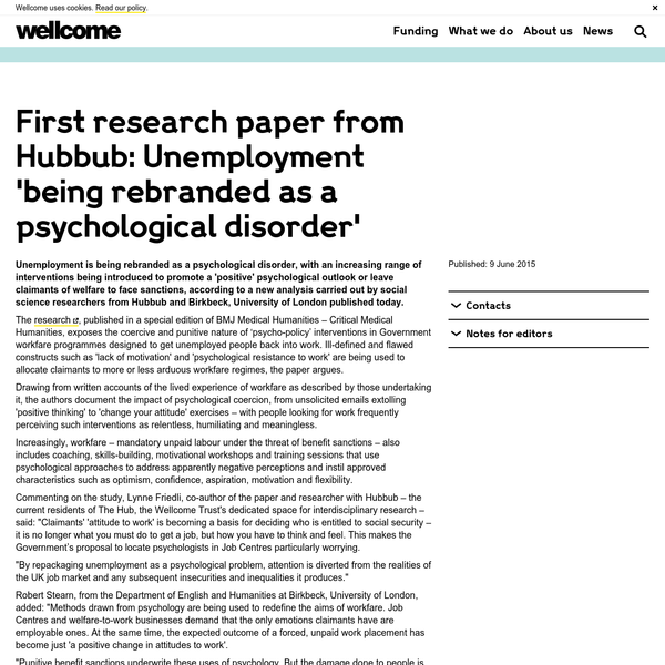 First research paper from Hubbub: Unemployment 'being rebranded as a psychological disorder'