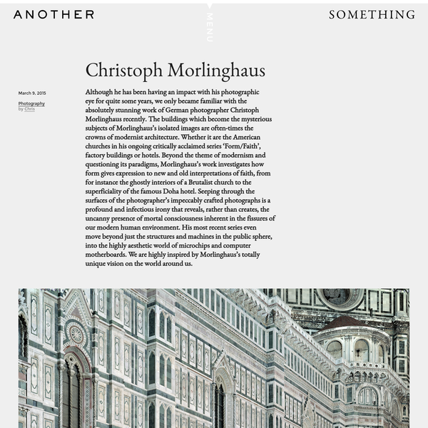 Although he has been having an impact with his photographic eye for quite some years, we only became familiar with the absolutely stunning work of German photographer Christoph Morlinghaus recently. The buildings which become the mysterious subjects of Morlinghaus's isolated images are often-times the crowns of modernist architecture.