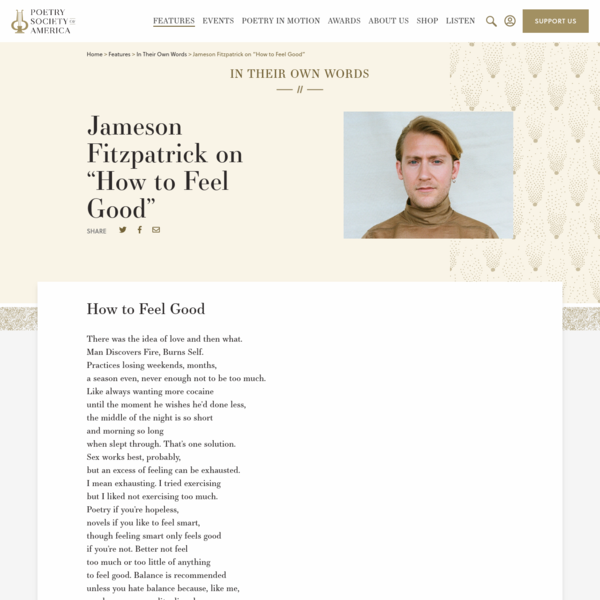 """Jameson Fitzpatrick on """"How to Feel Good"""""""