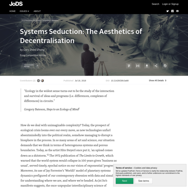 Systems Seduction: The Aesthetics of Decentralisation · Journal of Design and Science
