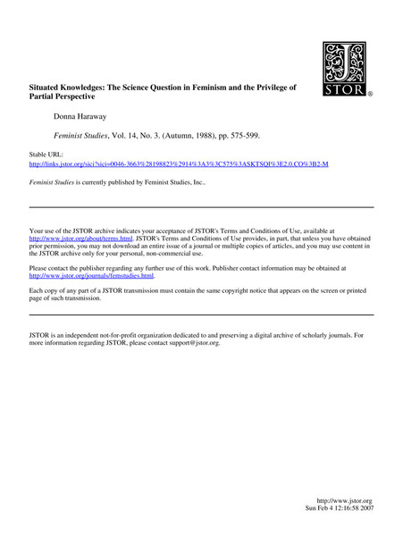 Donna Haraway Situated Knowledges Pdf