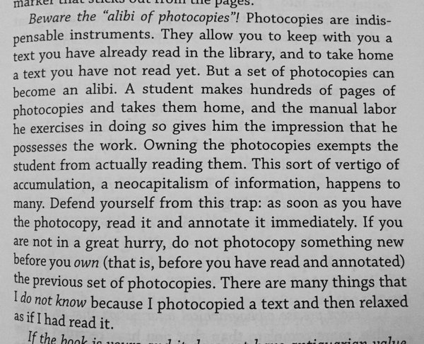 """""""There are many things I do not know because I photocopied a text and then relaxed as if I had read it"""" (Eco 1977)"""