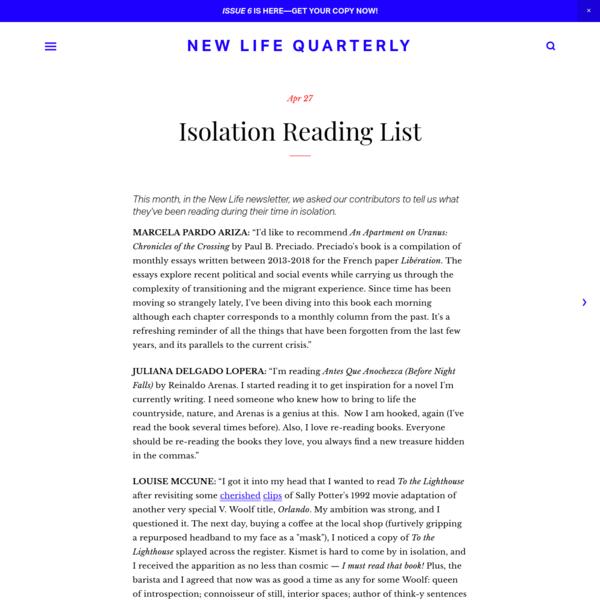 Isolation Reading List - New Life Quarterly