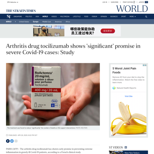 Arthritis drug tocilizumab shows 'significant' promise in severe Covid-19 cases: Study