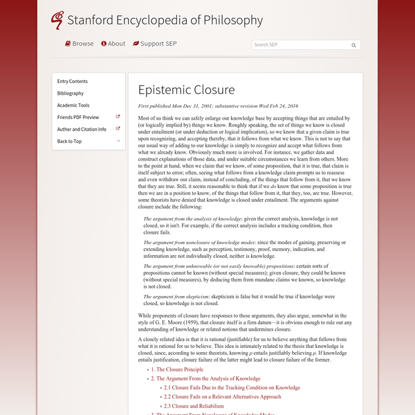 Epistemic Closure (Stanford Encyclopedia of Philosophy)