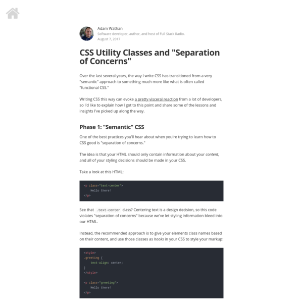 "CSS Utility Classes and ""Separation of Concerns"""