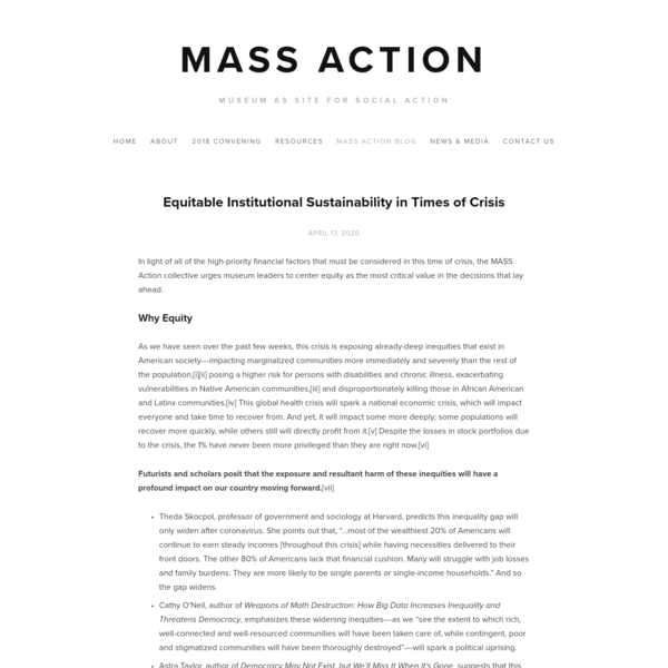 Equitable Institutional Sustainability in Times of Crisis - MASS Action