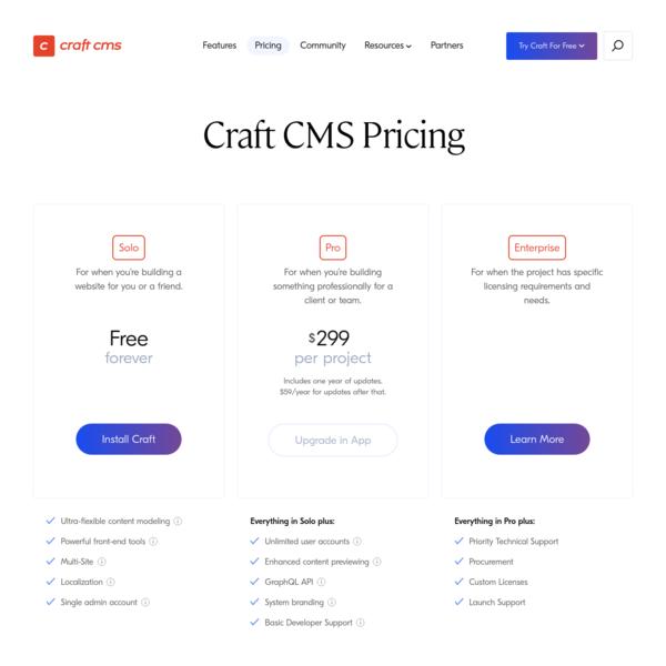 Pricing | Craft CMS