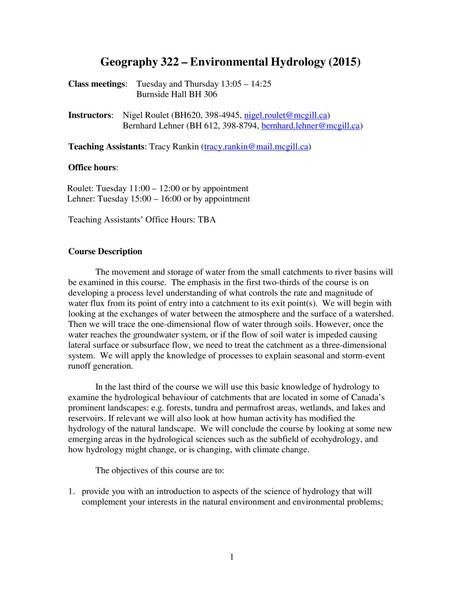 McGill GEOG322: Environmental Hydrology
