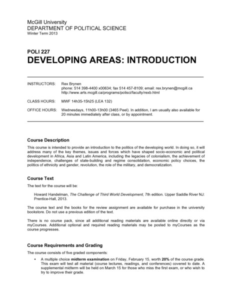 McGill POLI227: Developing Areas: Introduction