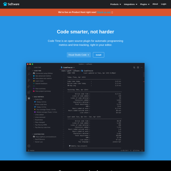 Code Time | A time-tracking app for VS Code, Sublime Text, and more