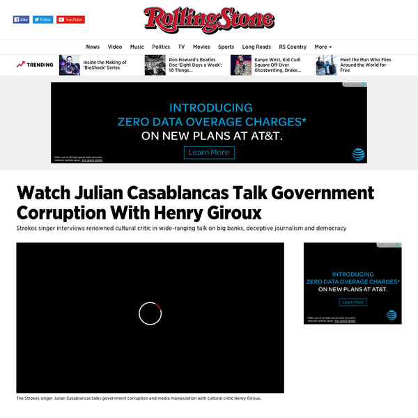 Julian Casablancas has become deeply interested in politics in recent years, evident on his 2014 album with , which took aim at corrupt capitalism and police brutality, and the Strokes' recent Future Present Past EP, which included subtle references to the iniquities of Wall Street.