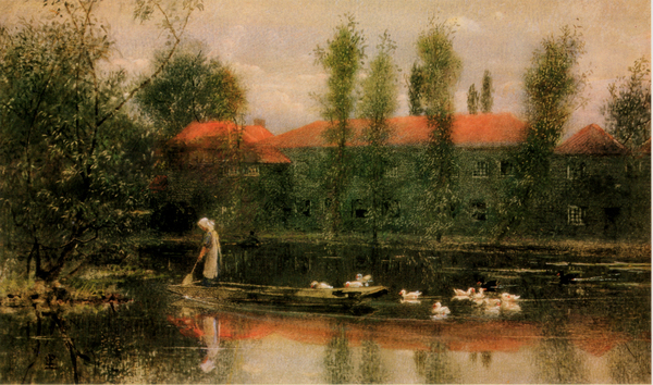 The Pond at Merton Abbey by Lexden Lewis Pocock