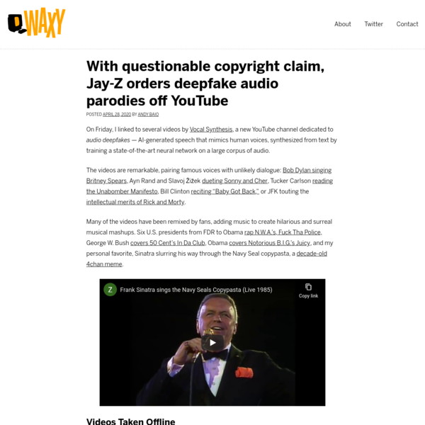With questionable copyright claim, Jay-Z orders deepfake audio parodies off YouTube - Waxy.org