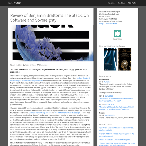 Review of Benjamin Bratton's The Stack: On Software and Sovereignty