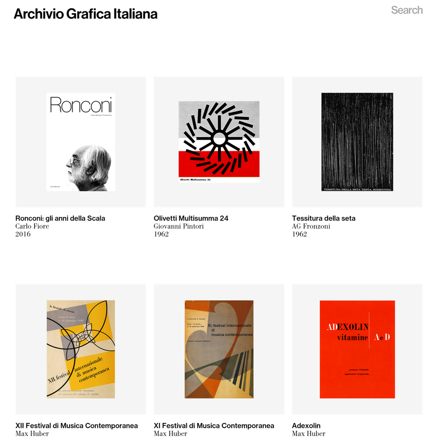 The first systematic digital archive dedicated to the Italian graphic design heritage. A growing overview aimed to spread and promote the culture of quality that distinguishes the Italian design tradition.