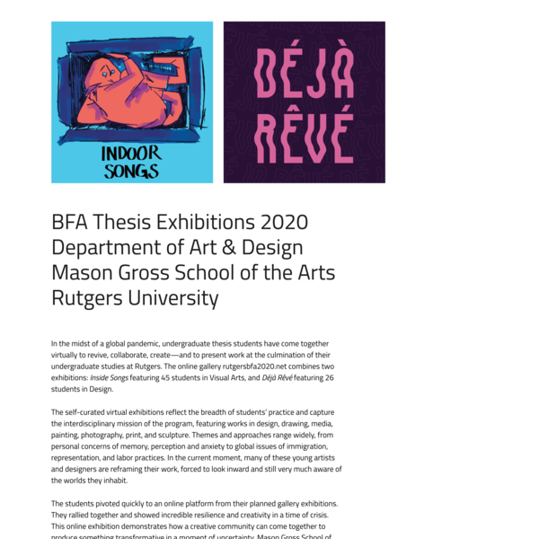 2020 BFA Thesis Exhibition - Mason Gross School of the Arts