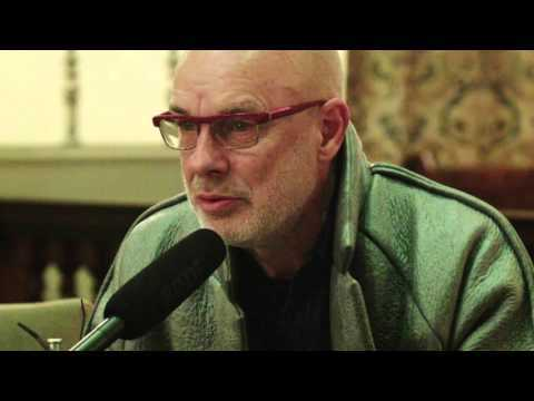 Brian Eno speaking at 'Basic Income: How do we get there?' Basic Income UK meet-up at St Clements Church Kings Square, London, 3 December 2015.