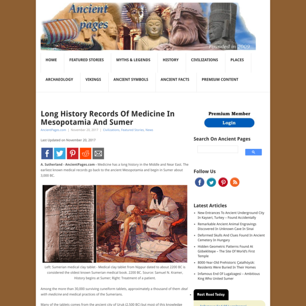 Long History Records Of Medicine In Mesopotamia And Sumer | Ancient Pages