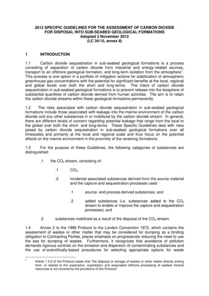 2012 SPECIFIC GUIDELINES FOR THE ASSESSMENT OF CARBON DIOXIDE FOR DISPOSAL INTO SUB-SEABED GEOLOGICAL FORMATIONS