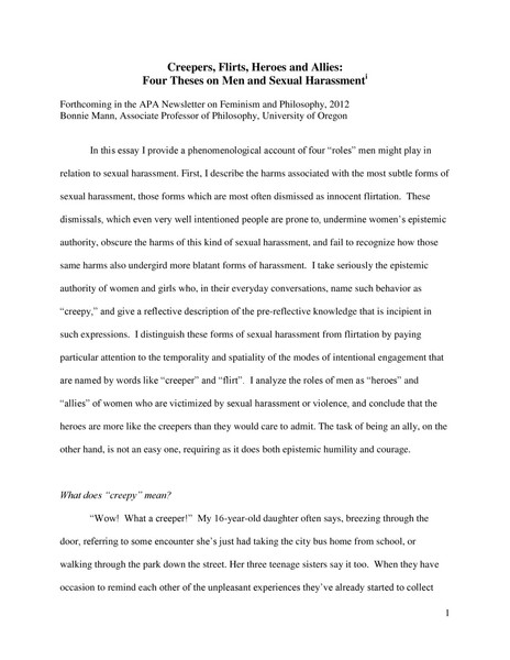 Creepers, Flirts, Heroes and Allies: Four Theses on Men and Sexual Harassment