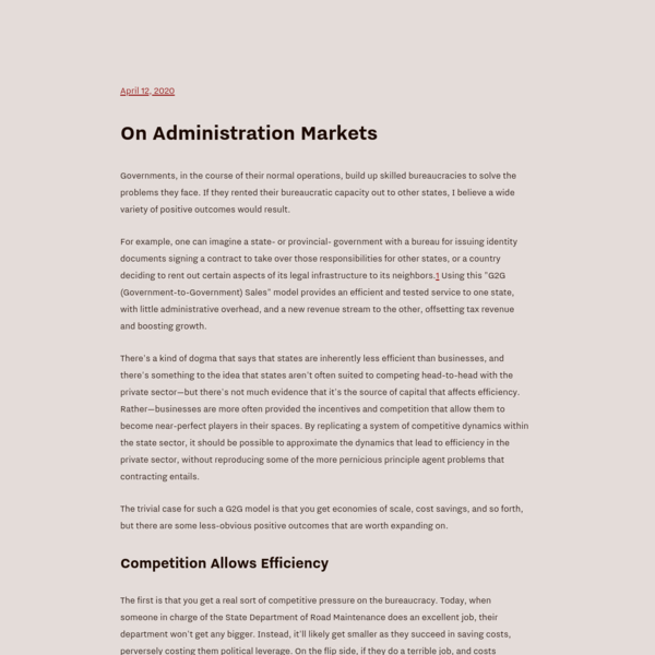 On Administration Markets