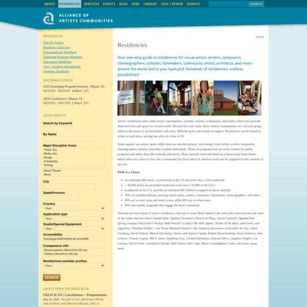 Residencies | Alliance of Artists Communities