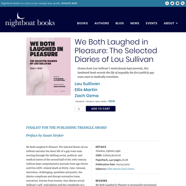 We Both Laughed in Pleasure: The Selected Diaries of Lou Sullivan – Nightboat Books
