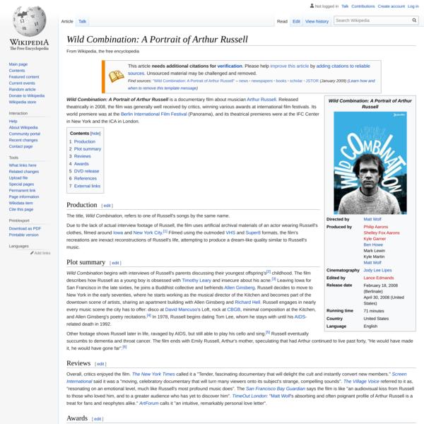 Wild Combination: A Portrait of Arthur Russell - Wikipedia