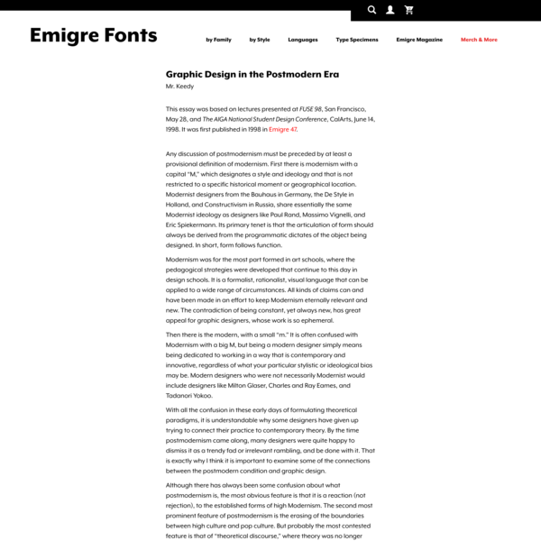 Emigre Essays Graphic Design in the Postmodern Era