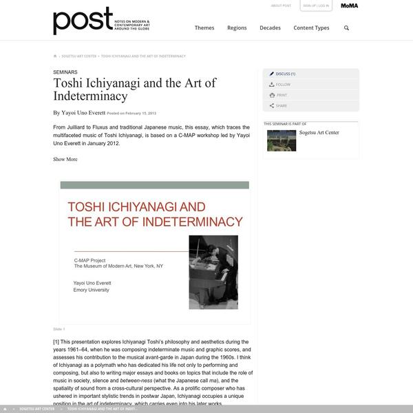 Toshi Ichiyanagi and the Art of Indeterminacy | post