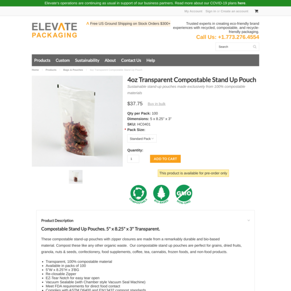 4oz Transparent Compostable Stand Up Pouch