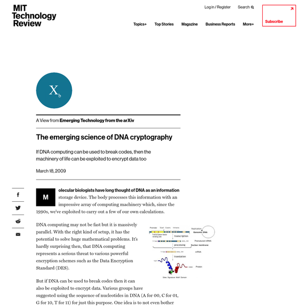The emerging science of DNA cryptography