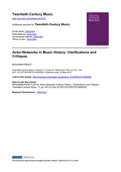 Piekut - Actor Networks in Music History: Clarifications and Critiques