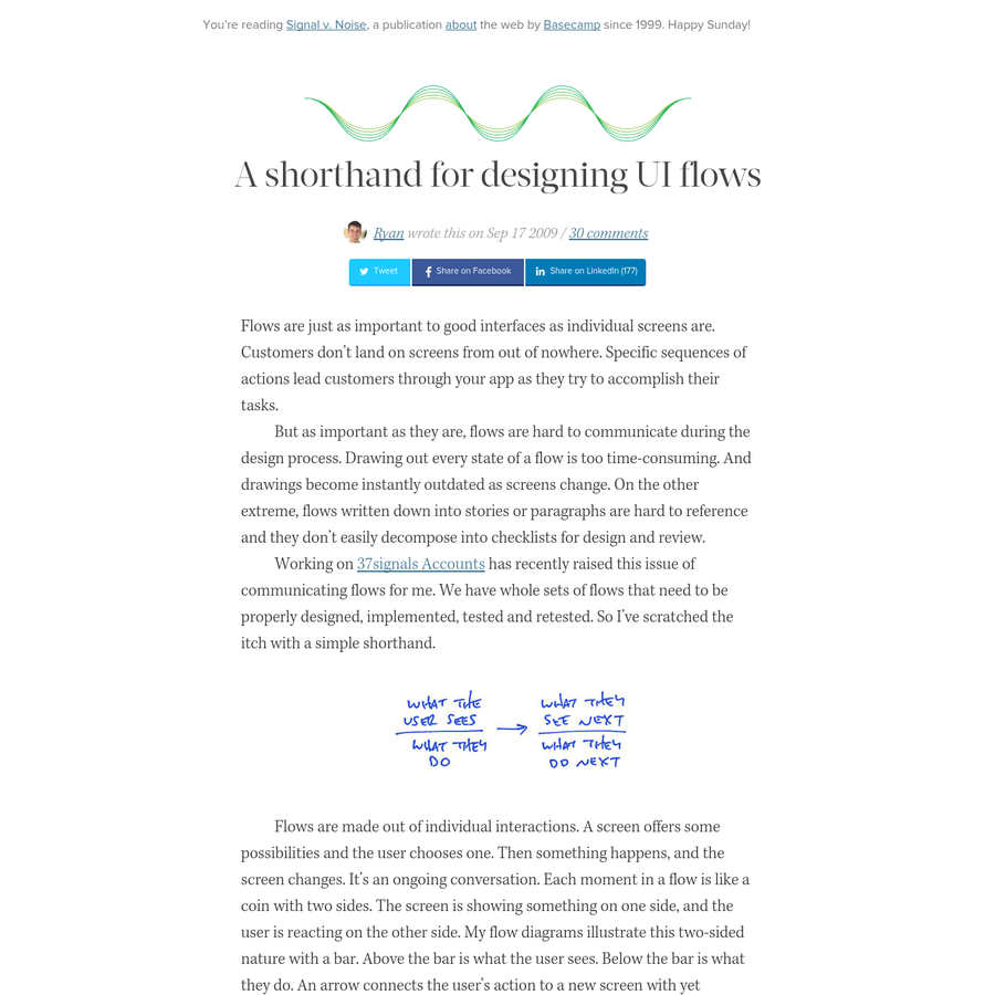 Flows are just as important to good interfaces as individual screens are. Customers don't land on screens from out of nowhere. Specific sequences of actions lead customers through your app as they try to accomplish their tasks. But as important as they are, flows are hard to communicate du...