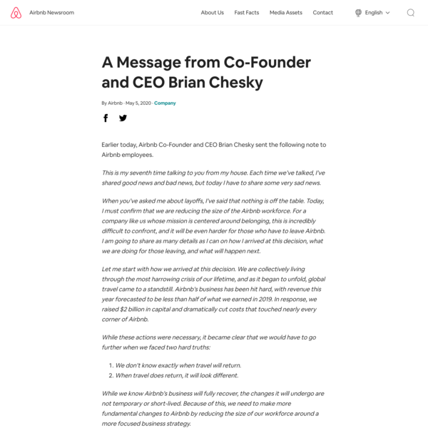 A Message from Co-Founder and CEO Brian Chesky