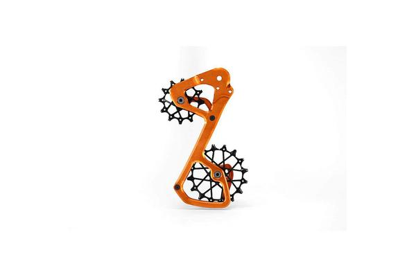 Aftermarket derailleur cage and pulleys for more range