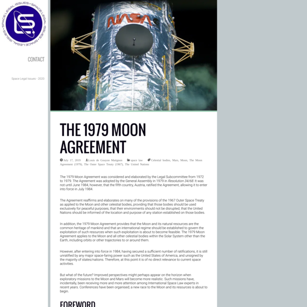 The 1979 Moon Agreement - A Space Law analysis on Space Legal Issues