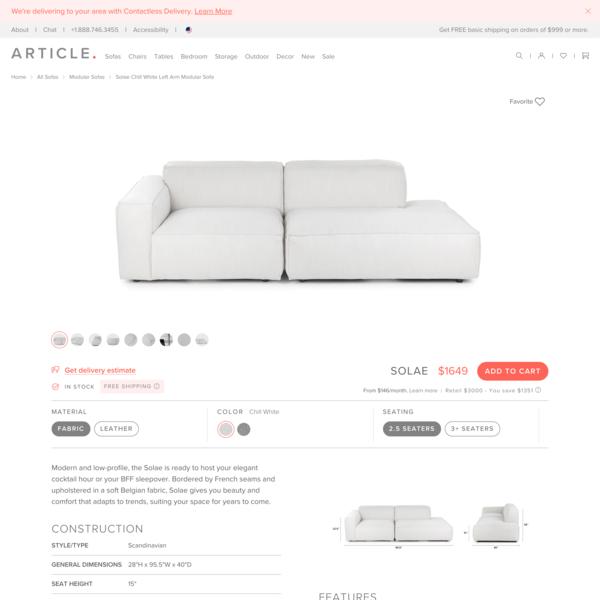 Solae Chill White Left Arm Modular Sofa
