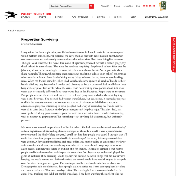 Proportion Surviving by Renee Gladman   Poetry Foundation