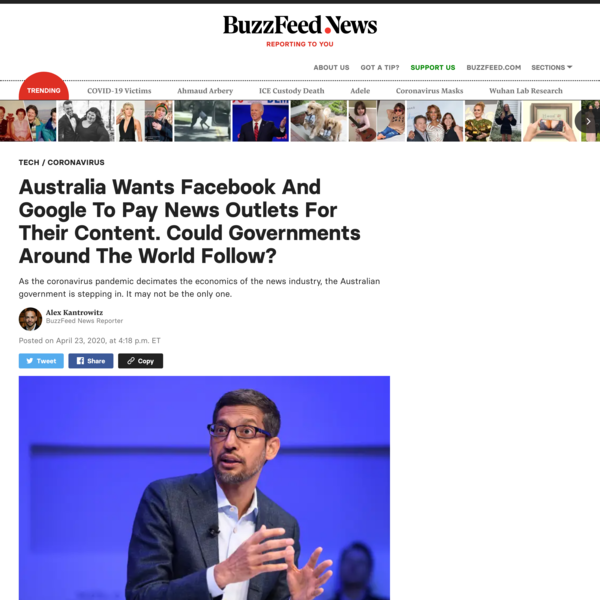 Australia Wants Facebook And Google To Pay News Outlets For Their Content. Could Governments Around The World Follow?