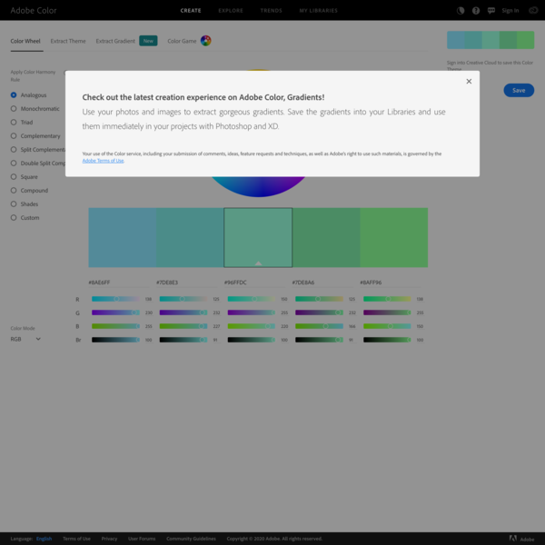 Color wheel, a color palette generator | Adobe Color