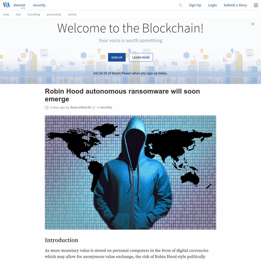 As more monetary value is stored on personal computers in the form of digital currencies which may allow for anonymous value exchange, the risk of Robin Hood style politically motivated ransomware increases. In this post I will describe how such a network could use both an ideological hook as well as a cryptocurrency reward to initiate self construction.