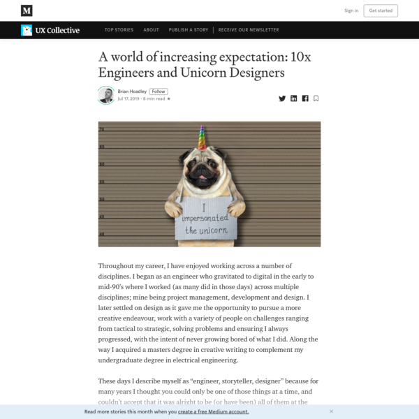 A world of increasing expectation: 10x Engineers and Unicorn Designers